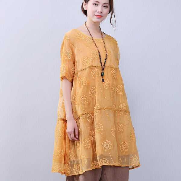 Women Elegant Loose Floral Shoulder Sleeves Yellow Dress - Buykud