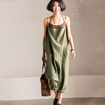 Women Loose Casual Green Strap Jumpsuit - Buykud