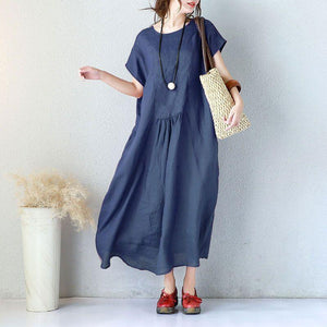 Summer Women Elegant Loose Short Sleeve Navy Blue Dress - Buykud