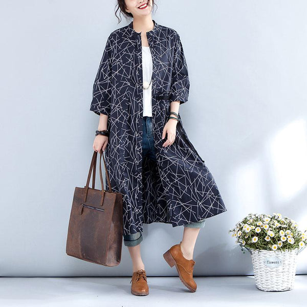 Casual Stand Collar Single Breasted Printed Navy Blue Coat - Buykud