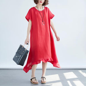 Women Round Neck Short Sleeve Loose Red Dress - Buykud