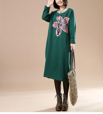 Autumn Plue Size Female Casual Long Sleeve Round Neck Printing Irregular Long Dress - Buykud