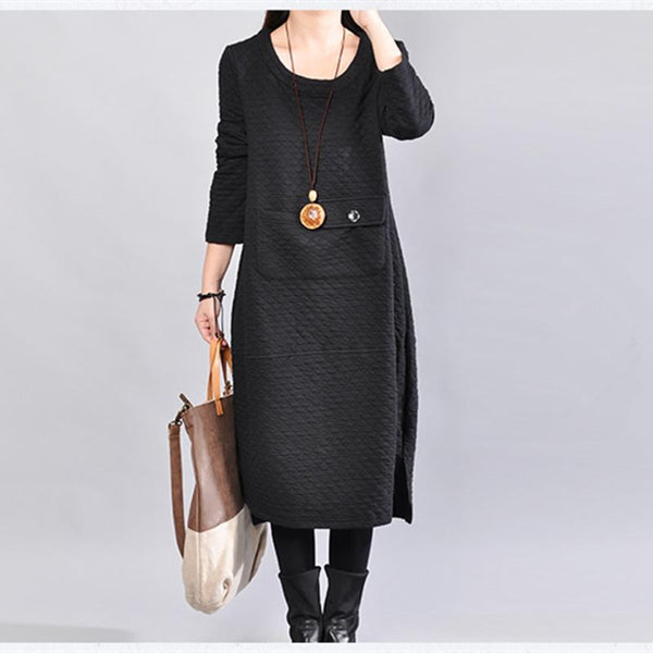 Casual Cotton Polyester Loose Women Winter Dress - Buykud