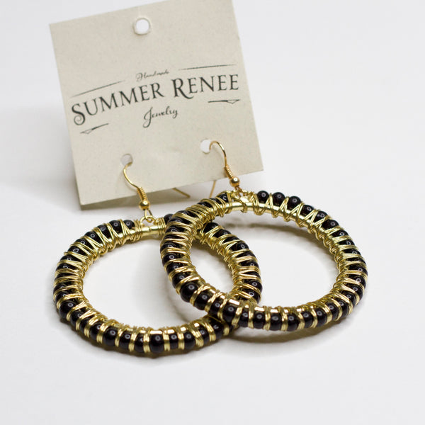 Black and Gold Round Earrings