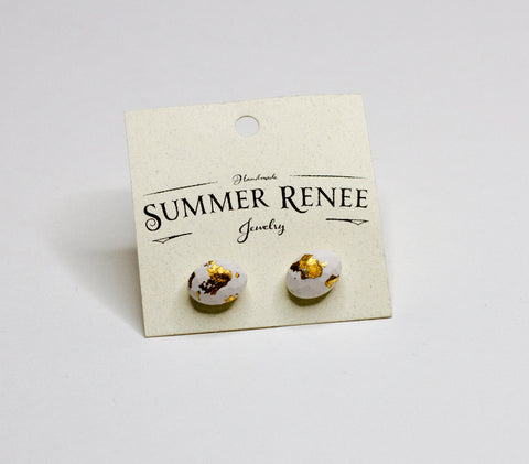 Concrete and Gold Stud Earrings