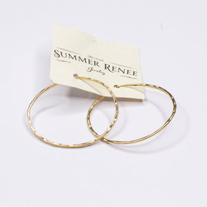 Hammered Gold Hoop Earring