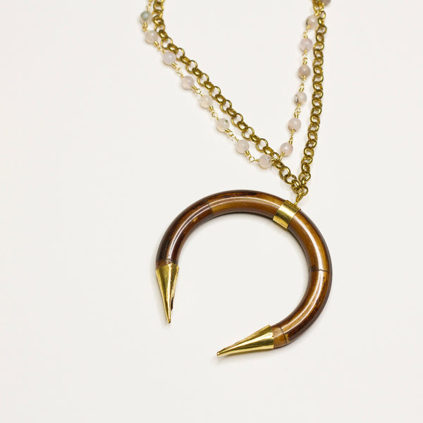 Clair Large Crescent Double Necklace