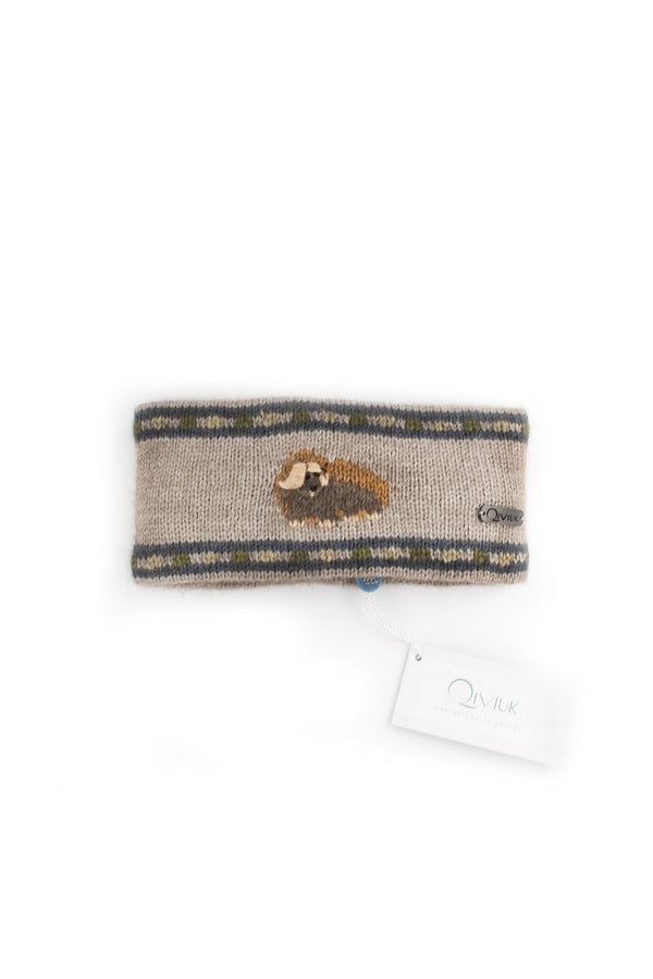 Qiviuk, Merino and Silk Muskox headband in natural by Qivuk Boutique