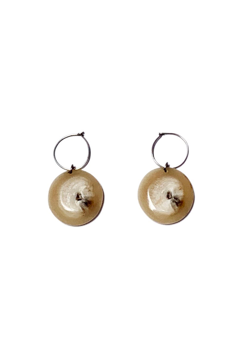 Muskox horn round drop Nini earrings made for Qiviuk Boutique