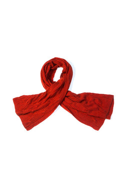 Qiviuk and Silk Cross Cable ladies shawl in red by Qiviuk Boutique