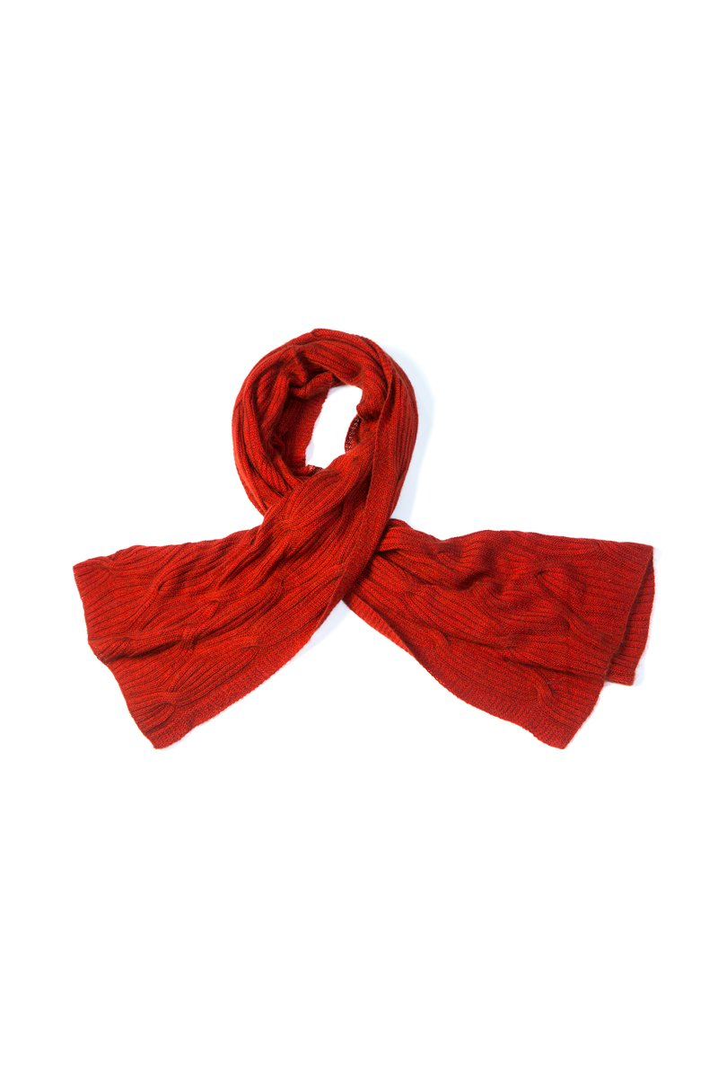 Qiviuk & Silk Cross Cable ladies shawl in red by Qiviuk Boutique