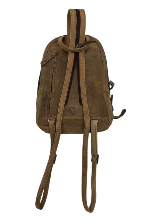 Bison Leather Woman's Backpack 2602 Hand Made for Qiviuk Boutique