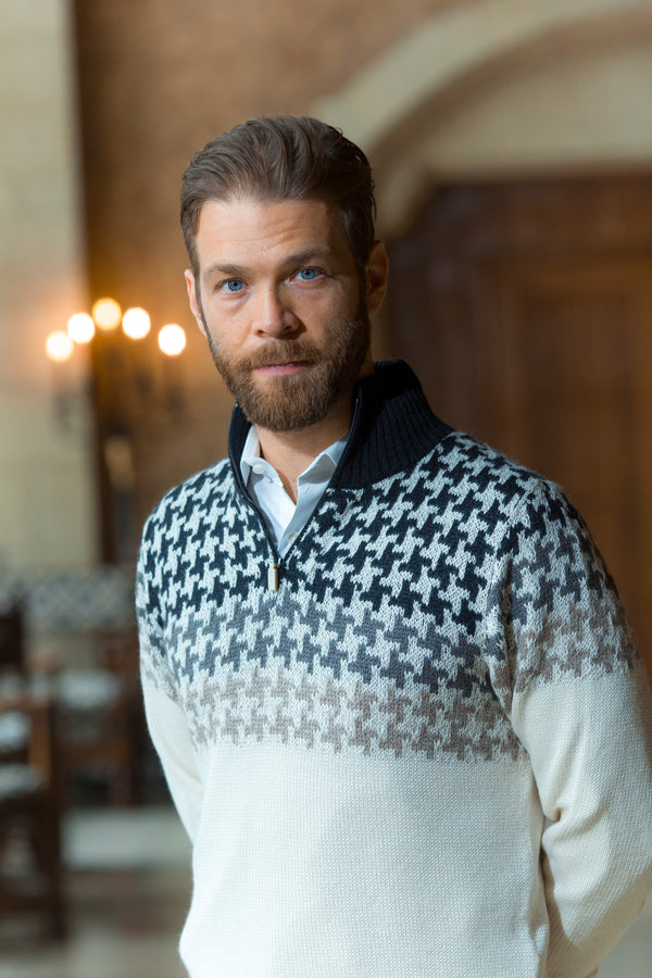 Bison, Merino, Silk and Heavenly alpaca Oscar men's pullover made by Qiviuk Boutique
