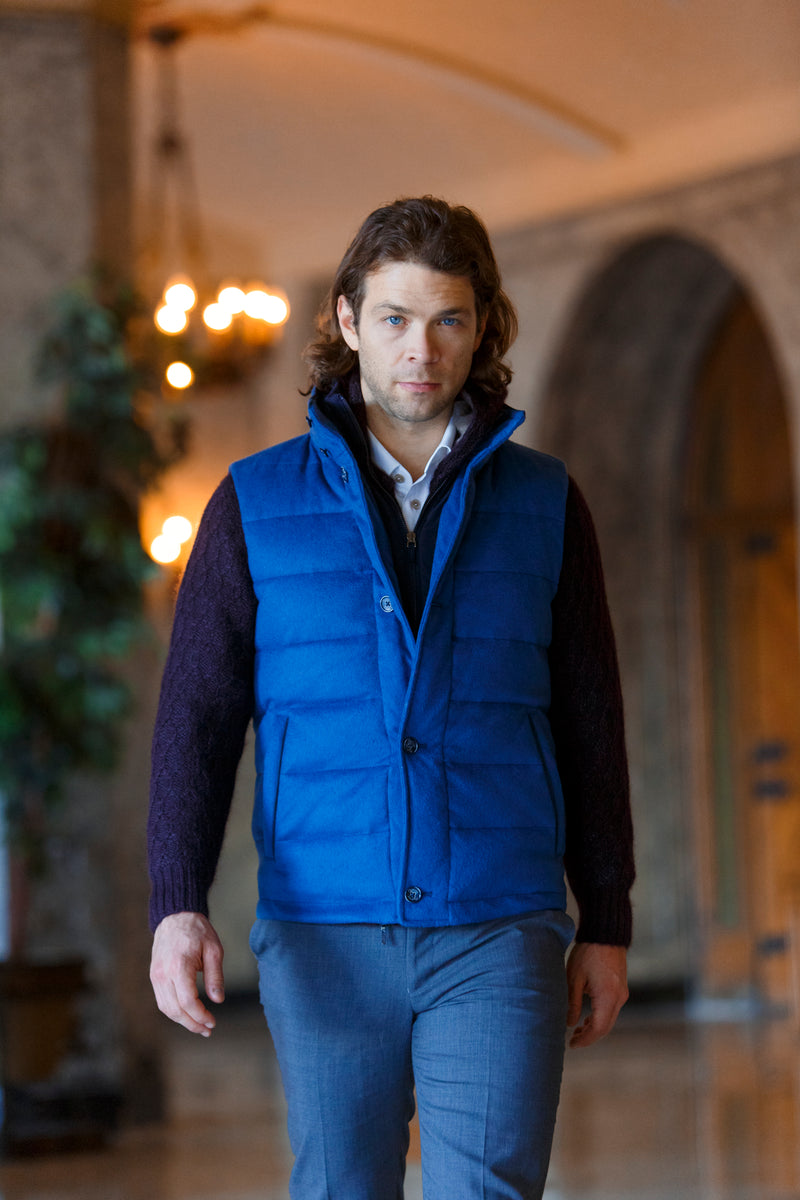 Qiviuk and Cashmere Gilet men's vest in blue by Qiviuk Boutique