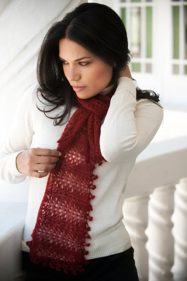 Qiviuk Brigida scarf in red by Qiviuk Boutique
