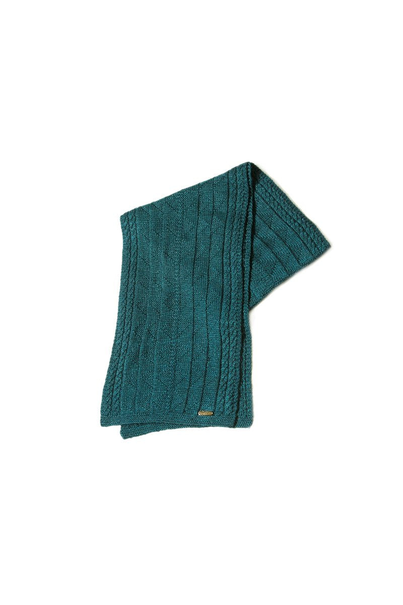 Bison, Merino & Silk Rogelio unisex scarf in blue made by Qiviuk Boutique