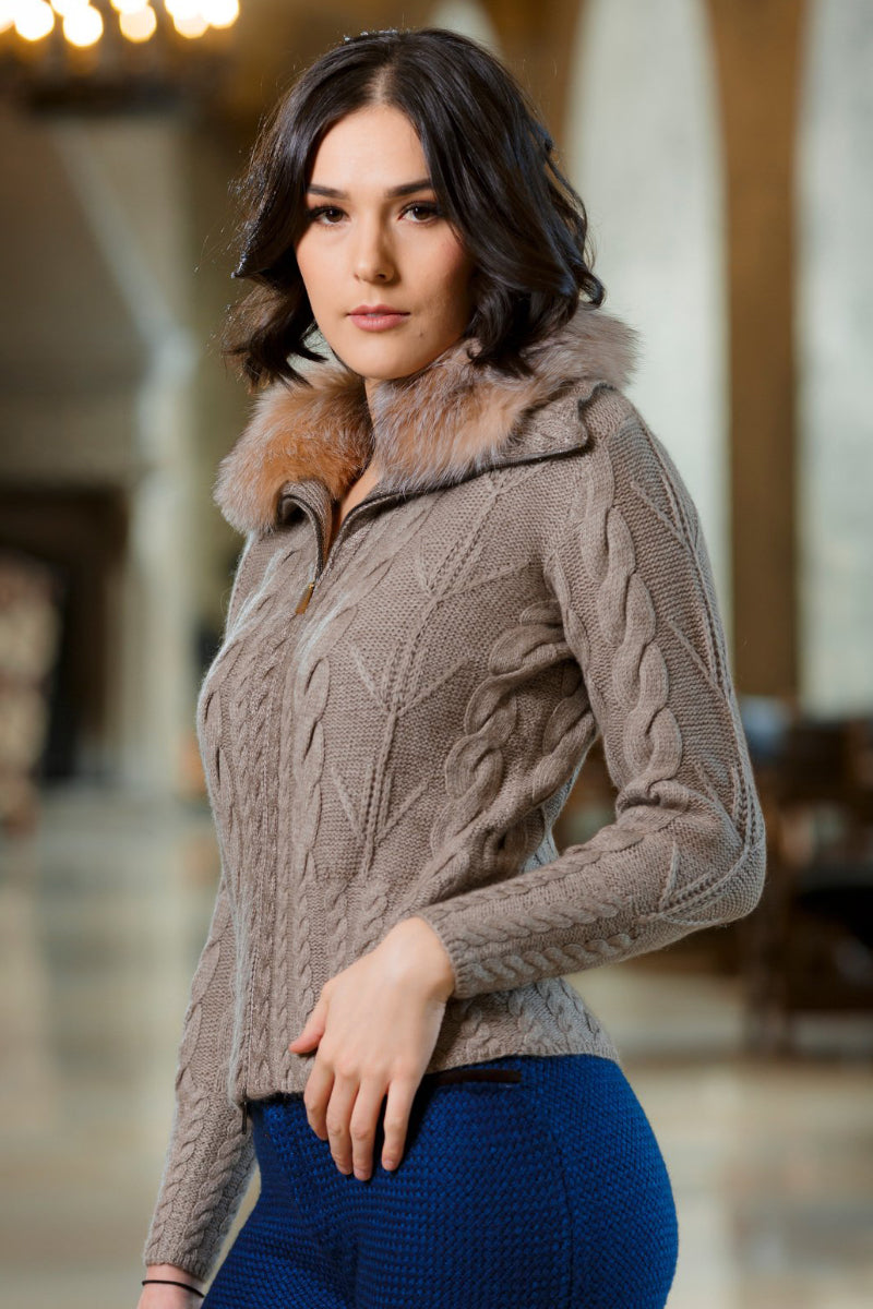 Qiviuk, Merino & Silk Adeli ladies cardigan with removable Crystal fox collar by Qiviuk Boutique