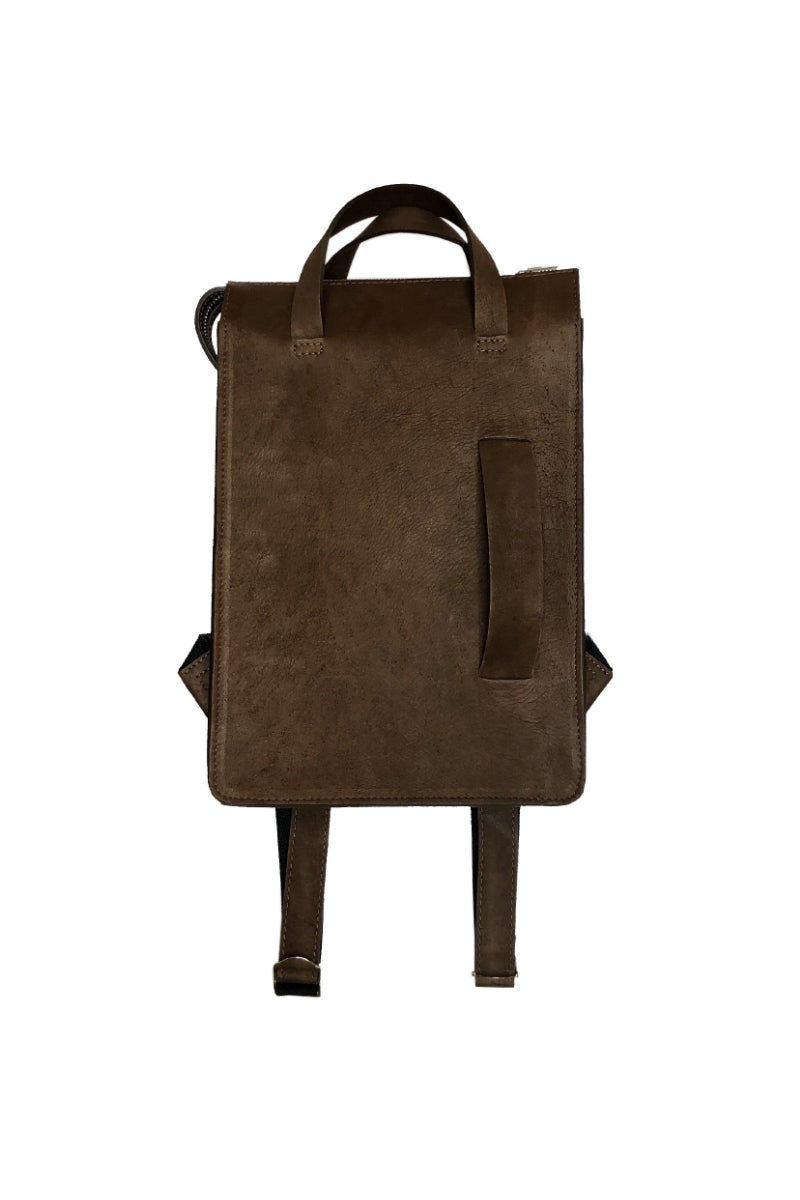 Muskox leather woman's backpack in Chocolate brown