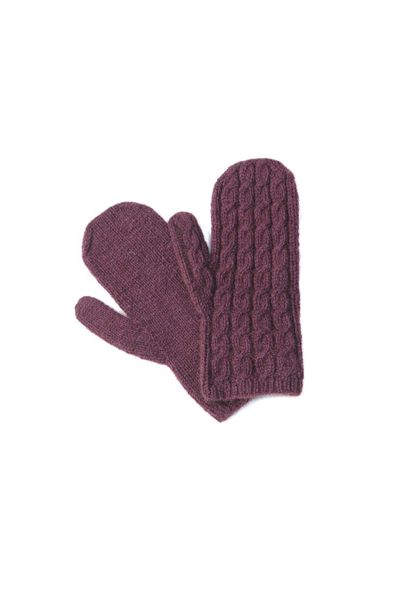 Qiviuk Cable mittens in purple by Qiviuk Boutique