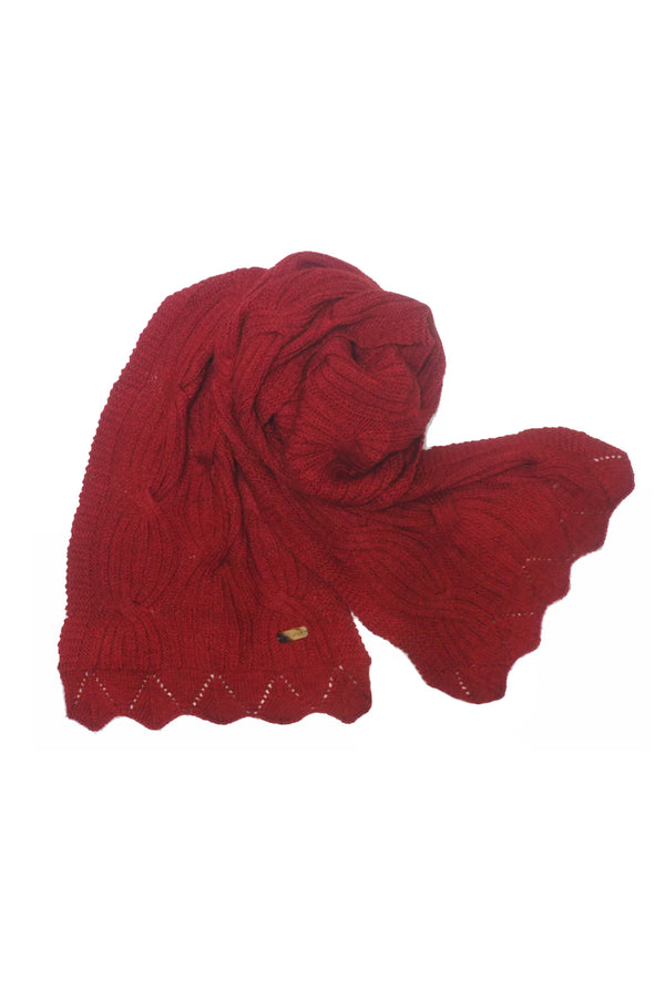 Bison, Merino & Silk Cross cable woman's scarf in red by Qiviuk Boutique