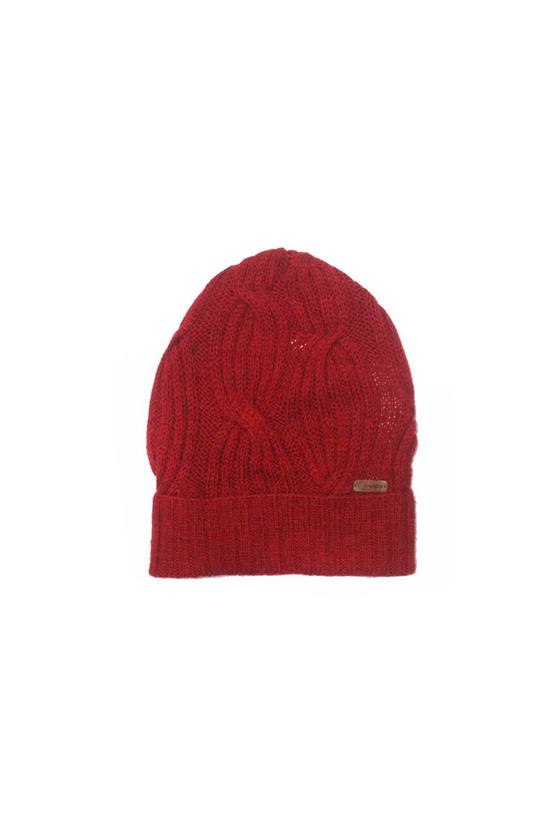 Bison, Merino & Silk Cross cable hat in red by Qiviuk Boutique