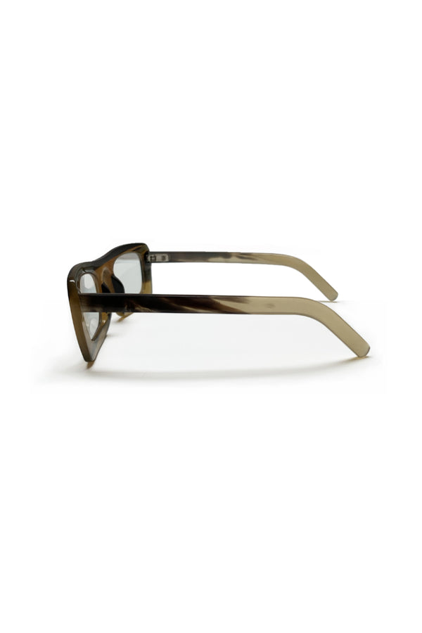 Buffalo horn Eskimo sunglasses w clear lenses made for Qiviuk Boutique