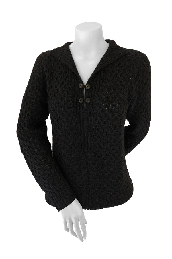 Esmeralda Woman Pullover Bison, Merino & Silk Customize design in black made by Qiviuk Boutique