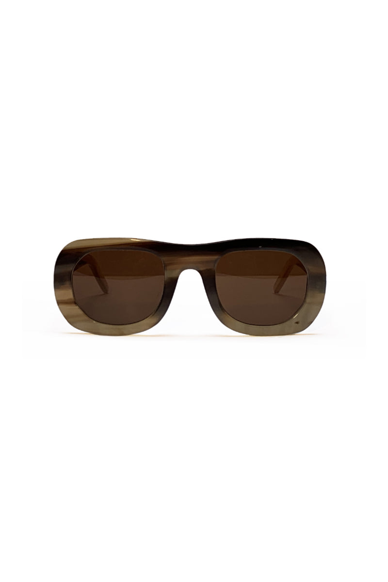 Buffalo horn Harikara sunglasses w brown lenses made for Qiviuk Boutique