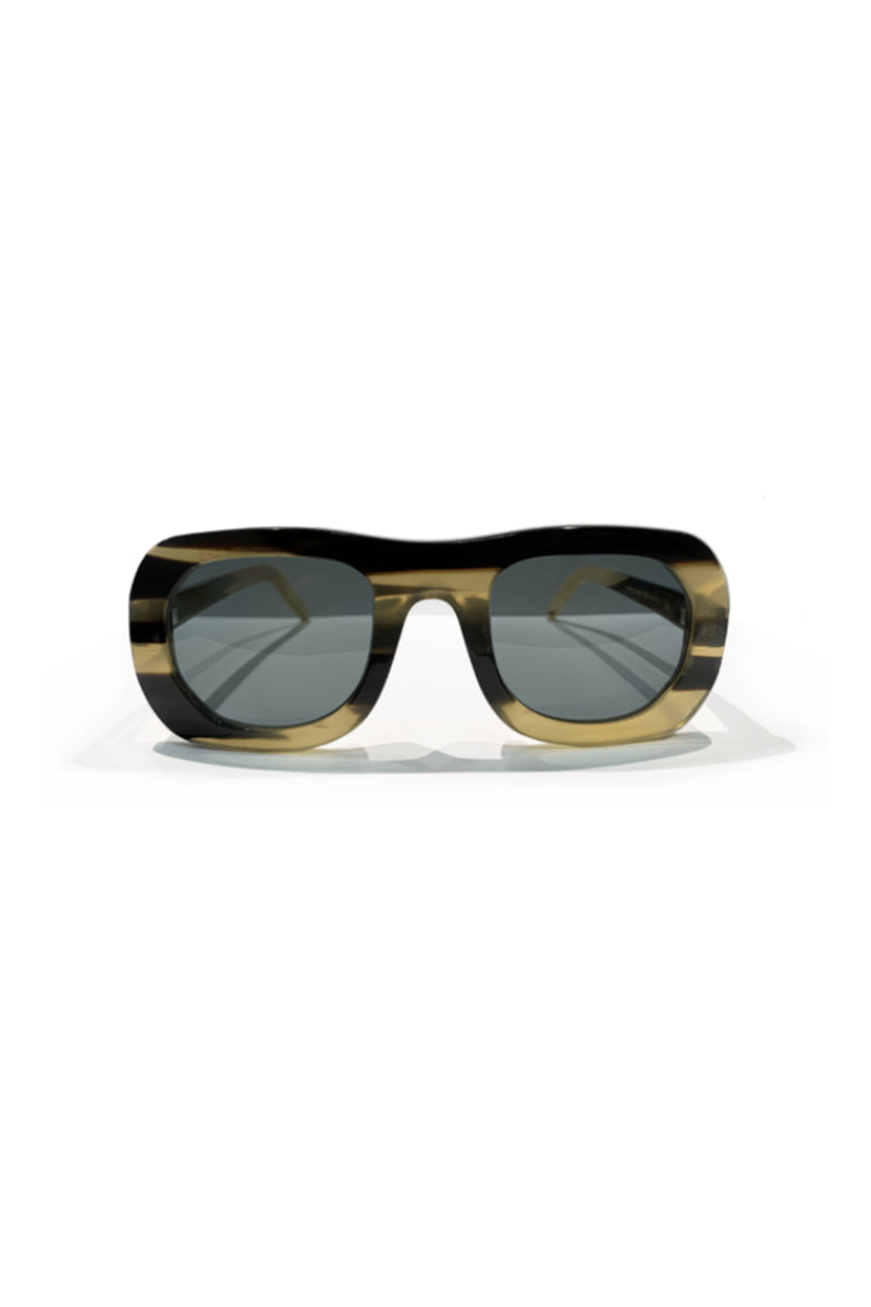 Buffalo horn Harikara sunglasses w blue lenses made for Qiviuk Boutique