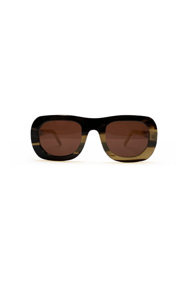 Buffalo horn Harikara sunglasses w orange lenses made for Qiviuk Boutique
