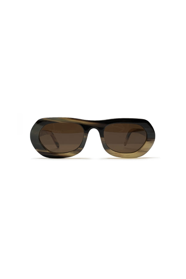 Buffalo horn Inuit sunglasses w brown lenses made for Qiviuk Boutique