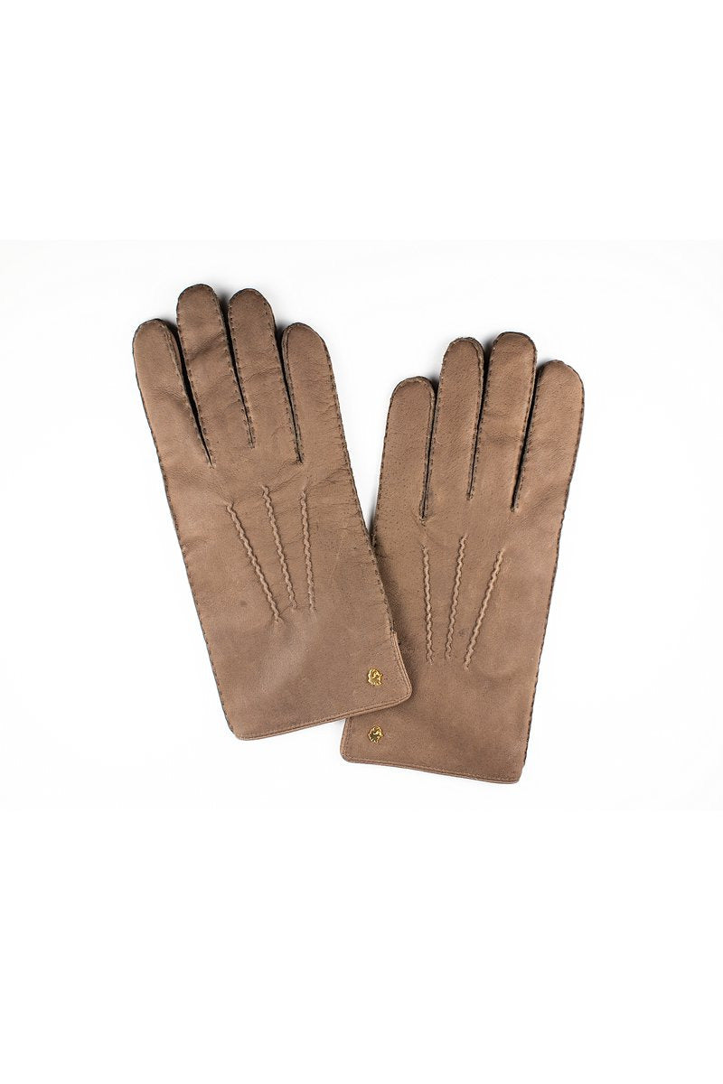Muskox leather men's gloves in brown by Qiviuk Boutique