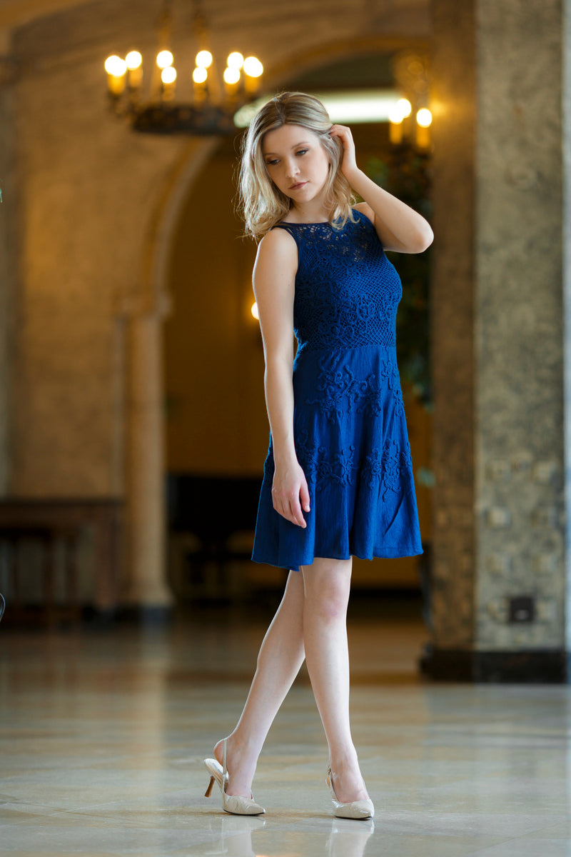 Qiviuk & Silk Minerva ladies dress in blue by Qiviuk Boutique