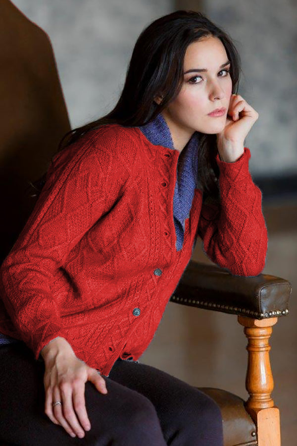 Mena Woman Cardigan Qiviuk & Merino in red by Qiviuk Boutique