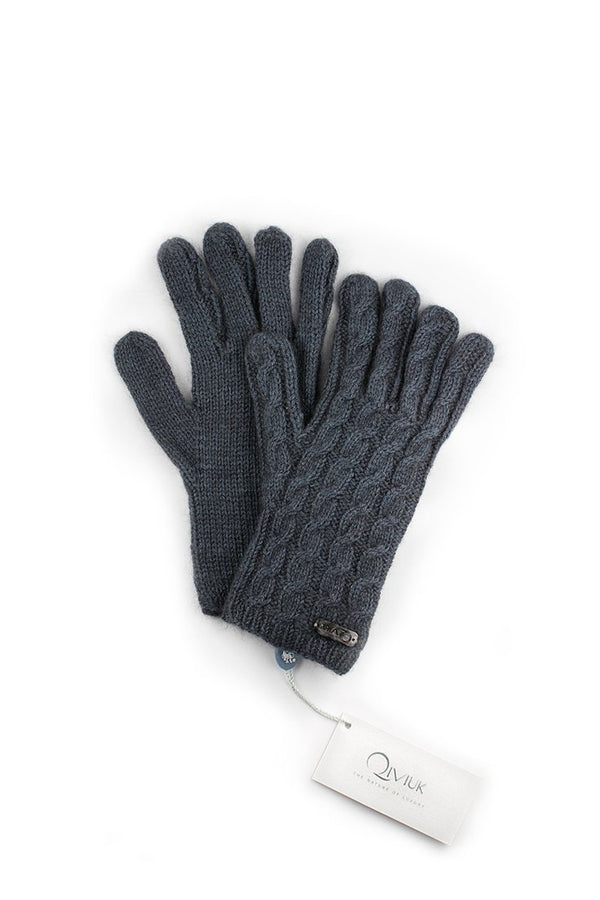 Qiviuk, Merino & Silk Cable gloves in light blue by Qiviuk Boutique