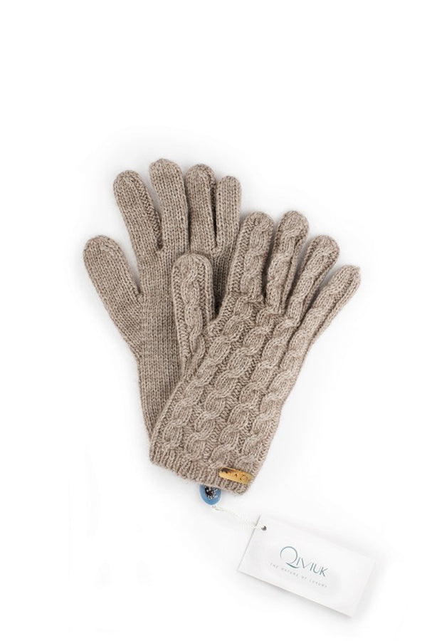 Qiviuk, Merino & Silk Cable gloves in natural by Qiviuk Boutique