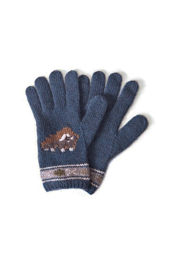 Qiviuk, Merino & Silk Muskox ladies gloves in light blue by Qivuk Boutique