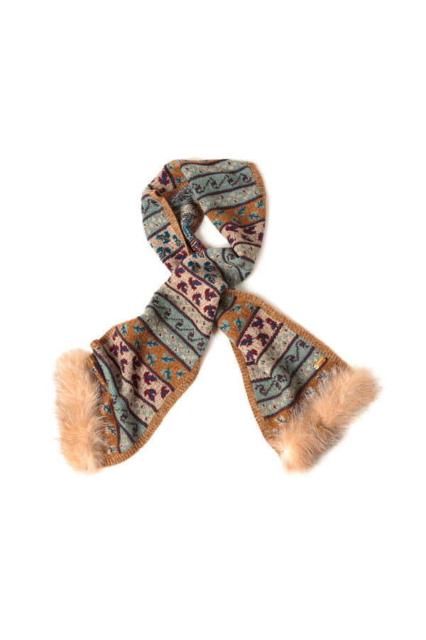 Bison, Merino & Silk Suleyma ladies scarf with crystal fox made by Qiviuk Boutique