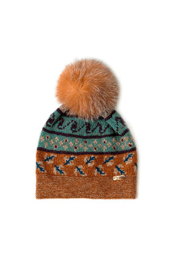 Bison, Merino and Silk Suleyma ladies toque with removable crystal fox pompom made by Qiviuk Boutique