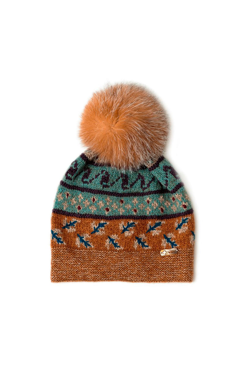 Bison, Merino & Silk Suleyma hat with removable crystal fox pompom made by Qiviuk Boutique