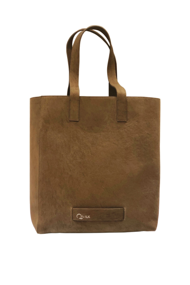 Muskox leather Le Feuillet Tote bag in brown