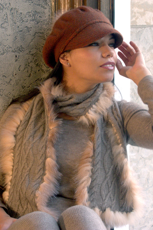 Qiviuk, Merino & Silk Vero ladies scarf with Crystal fox trim by Qiviuk Boutique
