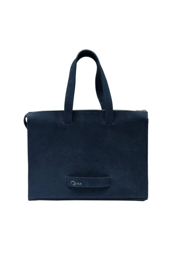 Muskox leather Le Feuillet working bag in blue made for Qiviuk Boutique