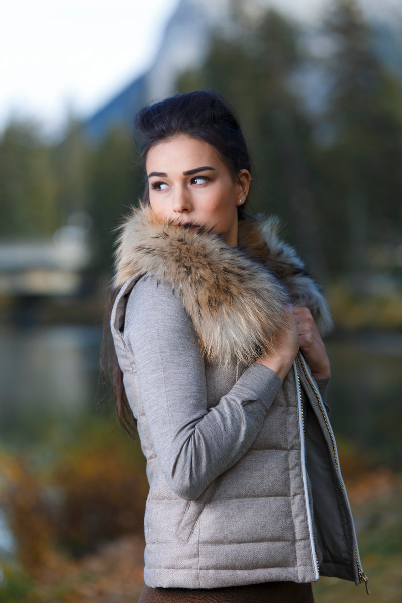 Qiviuk and Cashmere Gilet ladies vest w removable fox collar by Qiviuk Boutique