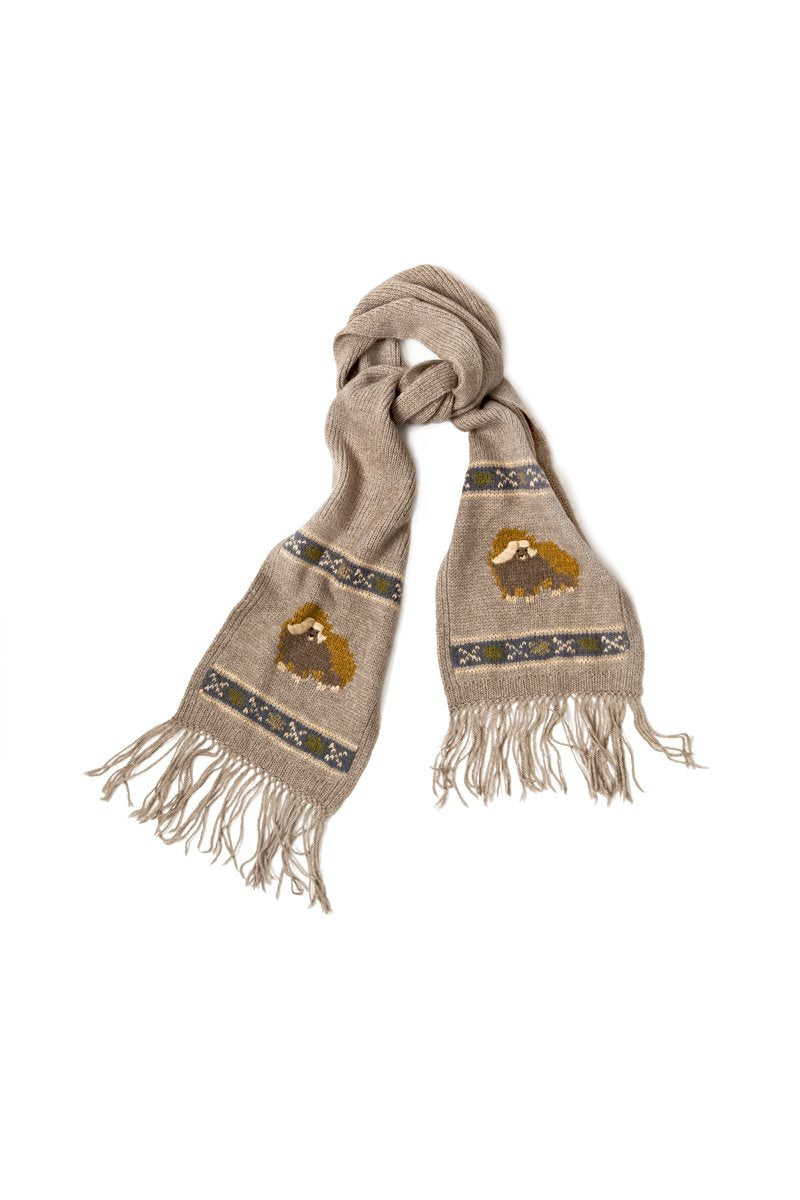Qiviuk, Merino & Silk Muskox scarf in natural by Qivuk Boutique