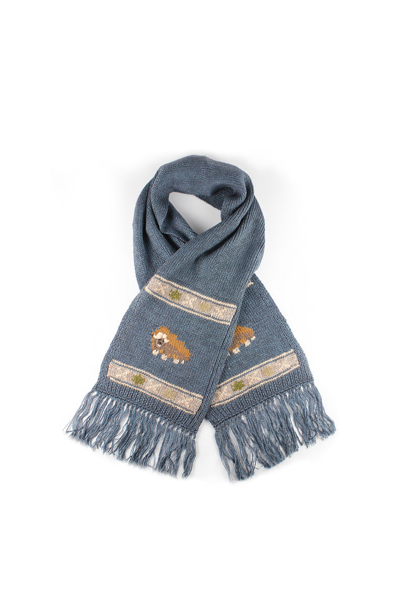 Bison, Merino & Silk Muskox scarf for kids in L blue made by Qiviuk Boutique