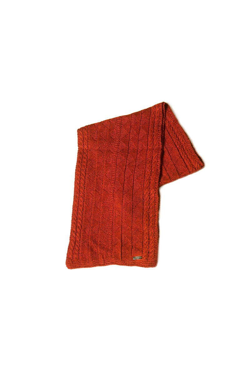 Bison, Merino and Silk Rogelio unisex scarf in red made by Qiviuk Boutique
