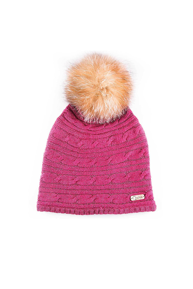 Crystal Fox fur pompom on BMS Conny toque in pink by Qiviuk Boutique