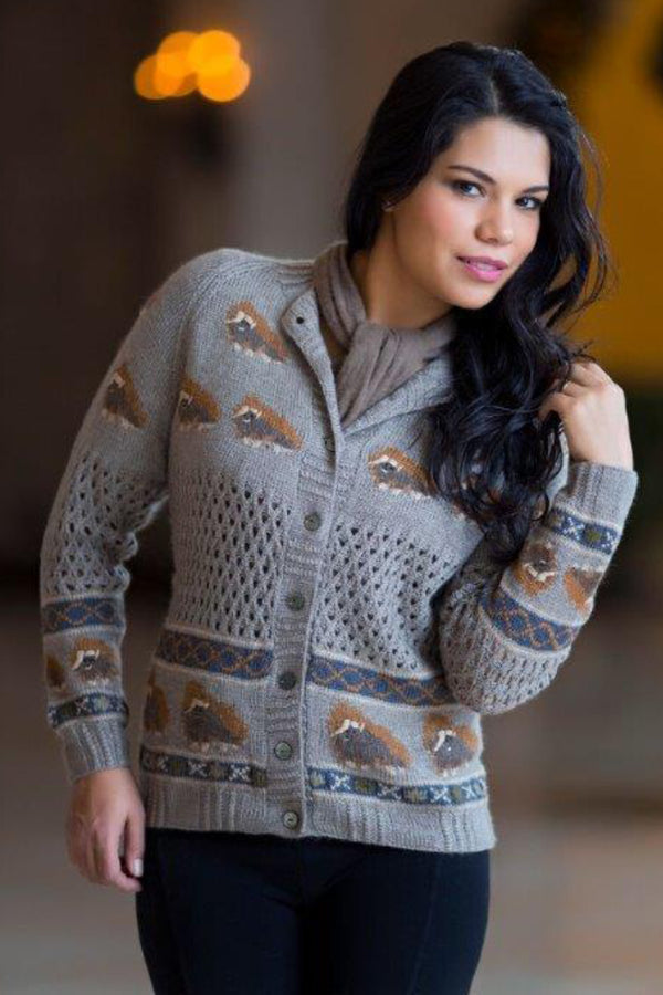 Muskox Woman Cardigan Qiviuk, Merino & Silk in Natural by Qiviuk Boutique