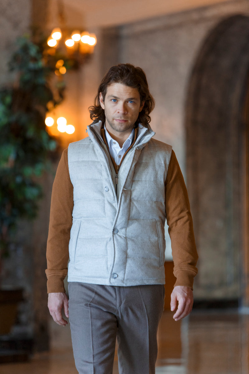 Qiviuk & Cashmere Gilet men's vest in beige by Qiviuk Boutique